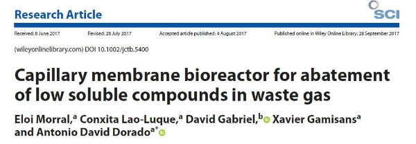 New publication - Capillary membrane bioreactor for abatement of low soluble compounds in waste gas