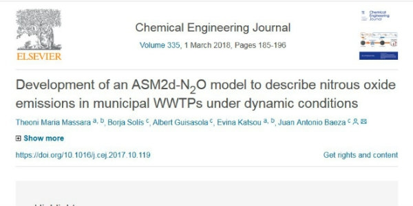 New publication - Development of an ASM2d-N2O model to describe nitrous oxide emissions in municipal WWTPs under dynamic conditions