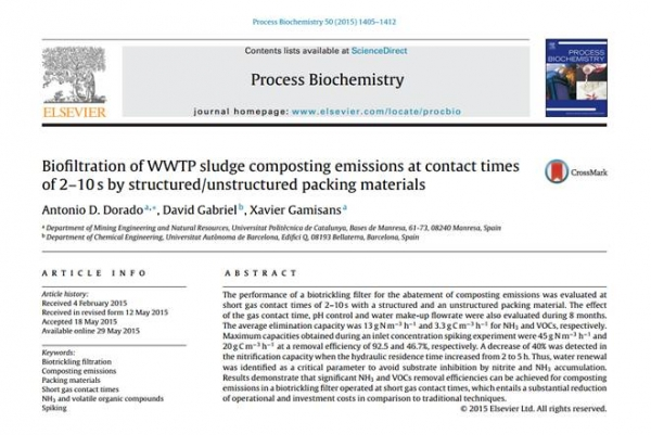 New Publication - Biofiltration of WWTP sludge composting emissions at contact times of 2-10 s by structured/unstructured packing materials
