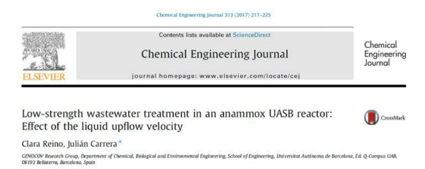 NEW Publication -  Low-strength wastewater treatment in an anammox UASB reactor: Effect of the liquid upflow velocity