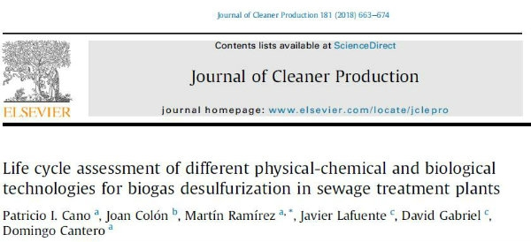 New publication - Life cycle assessment of different physical-chemical and biological technologies for biogas desulfurization in sewage treatment plants