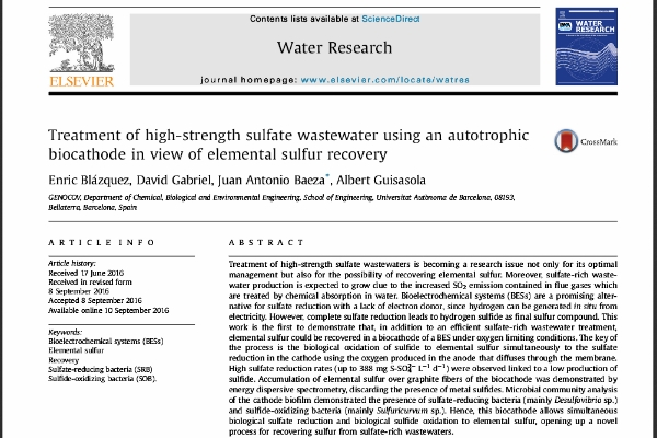 New Publication - Treatment of high-strength sulfate wastewater using an autotrophic biocathode in view of elemental sulfur recovery