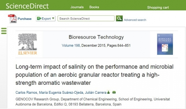 New Publication - Long-term impact of salinity on the performance and microbial population of an aerobic granular reactor treating a high-strength aromatic wastewater