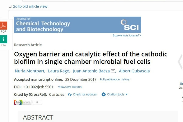 New publication - Oxygen barrier and catalytic effect of the cathodic biofilm in single chamber microbial fuel cells