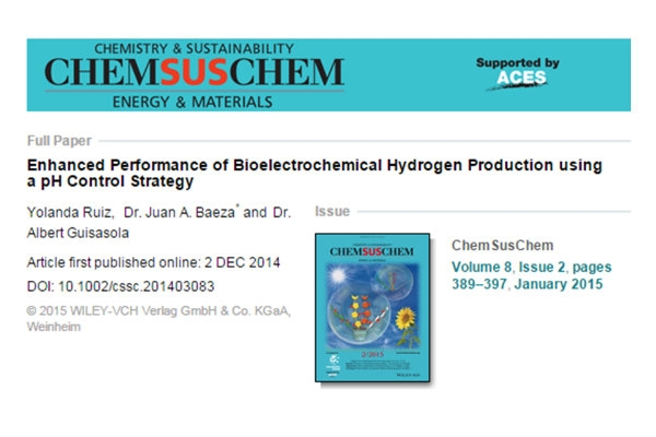 Publication - Enhanced Performance of Bioelectrochemical Hydrogen Production with a pH Control Strategy