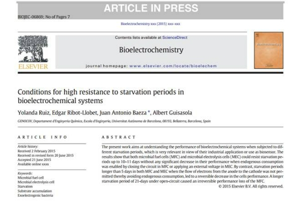 New Publication - Conditions for high resistance to starvation periods in bioelectrochemical systems
