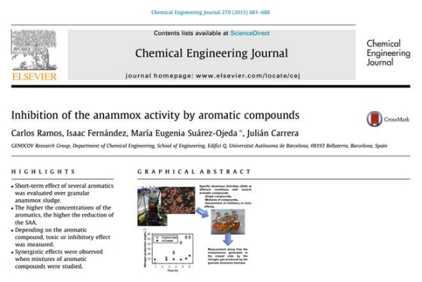 New Publication - Inhibition of the anammox activity by aromatic compounds