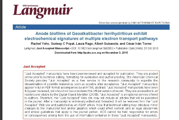 New Publication - Anode biofilms of Geoalkalibacter ferrihydriticus exhibit electrochemical signatures of multiple electron transport pathways